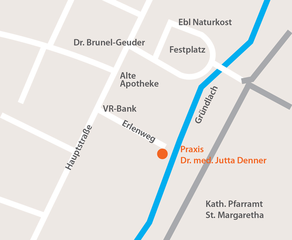 Karte mit dem Weg zur hausärztlichen Praxis Dr. Jutta Denner Heroldsberg